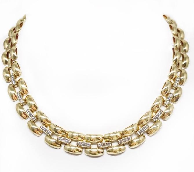 1.55ctw Diamond 14K Yellow Gold Necklace - 16 Inch