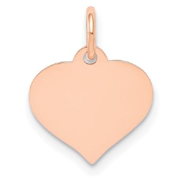 Plain Engraveable Heart 14K Rose Gold Pendant