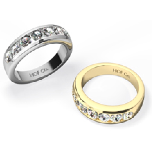 1.51ctw Hearts on Fire Diamond VS-SI Clarity; IJ Colour Duets Channel 18K Yellow Gold Ring