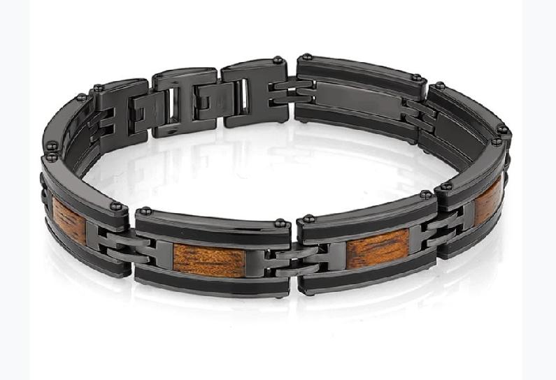 Black Gunmetal Ion Plated Stainless Steel with Wood Inlay 8.5 Inch Adjustable Bracelet by Italgem Steel