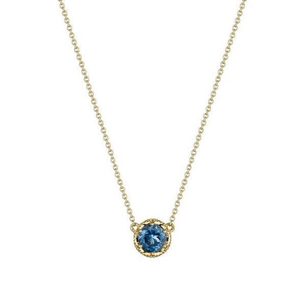 Round London Blue Topaz Petite Crescent Station 14K Yellow Gold Necklace by Tacori - 17 Inch - Serial No. 2170121