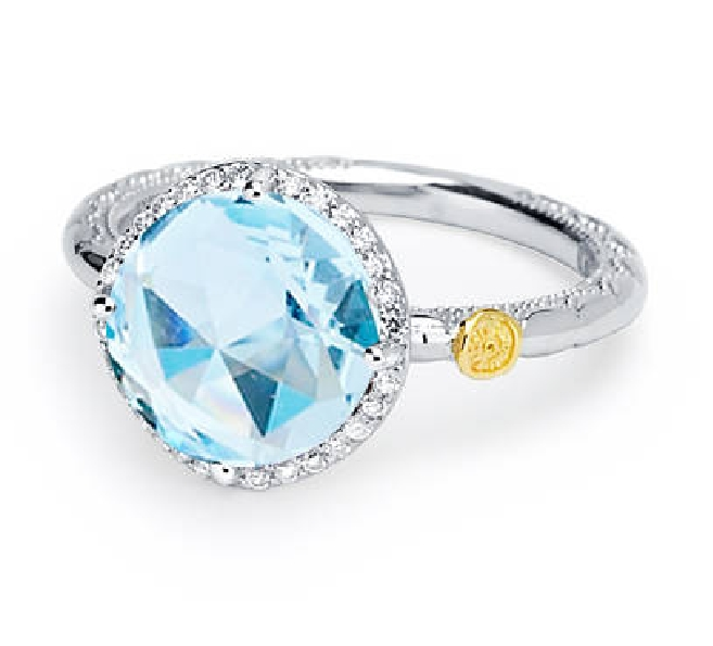 Island Rains Round Faceted Sky Blue Topaz with 0.13ctw Diamond Halo Sterling Silver and 18K Yellow Gold Ring by Tacori