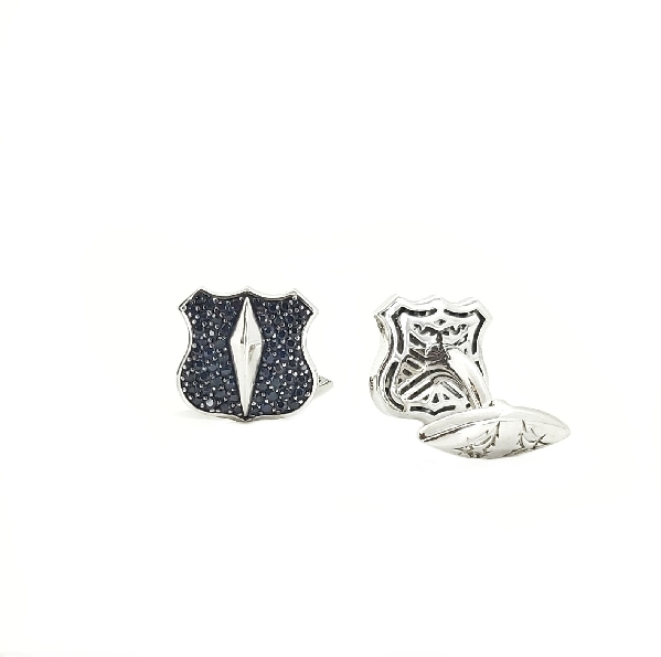Highwayman Shield Black Sapphire Pave with Black Rhodium Finish Polished Sterling Silver Cufflinks by Stephen Webster