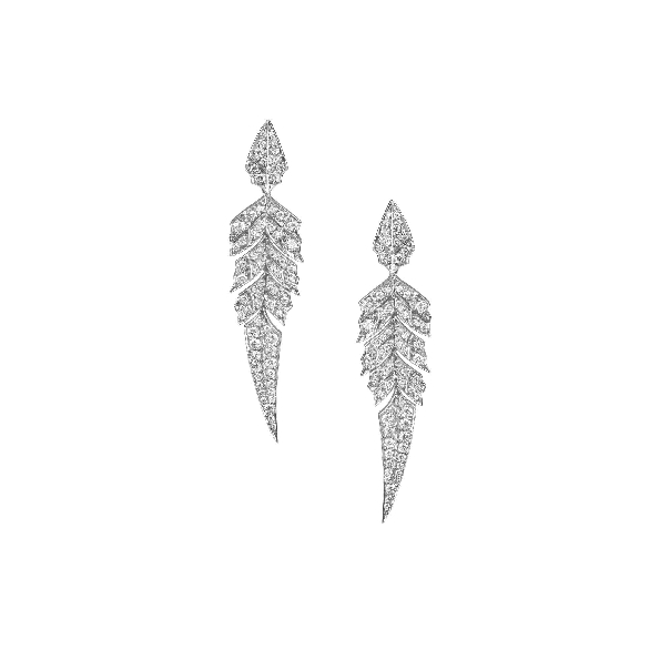 0.74ctw White Diamond VS1 Clarity; GH Colour Magnipheasant Pave 18K White Gold Earrings by Stephen Webster
