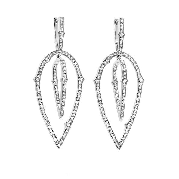 Thorn 3D Hoop 1.02ctw Diamond VS1 Clarity; GH Colour Pave Set 18K White Gold Earrings by Stephen Webster