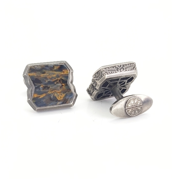England Made Me Cigar Leaf Engraving with Pietersite Inlay Sterling Silver Black Rhodium Finished Cuff Links by Stephen Webster