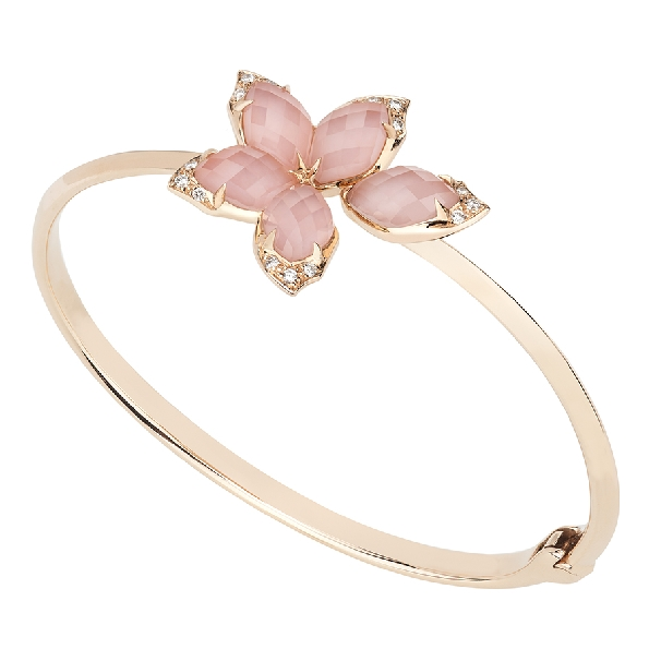 Stephen Webster Love Me Love Me Not Pink Opal with Quartz Crystal Haze and 0.14ctw White Diamonds 18K Rose Gold Bangle