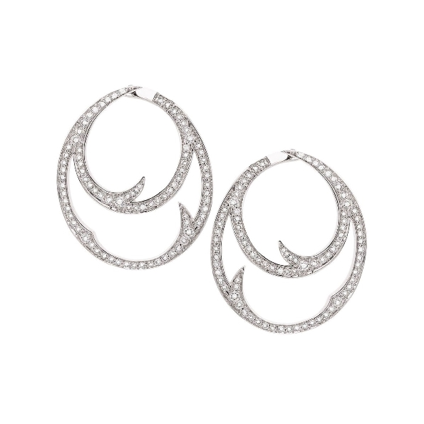 Stephen Webster Thorn Double Hoops set with 1.23ctw White Diamonds VS1 Clarity; GH Colour 18K White Gold Earrings - 3016446
