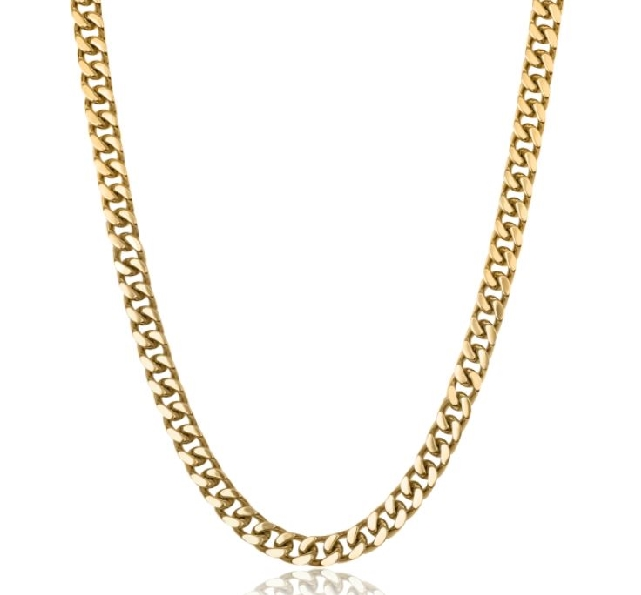 24 Inch Polished 9.4mm Curb Link Stainless Steel with Yellow Ion Plating Adjustable Chain by Italgem Steel