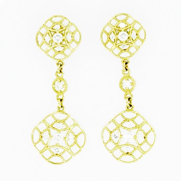 0.38ctw Diamond VS Clarity; G Colour 18K Yellow Gold Dangle Earrings by Tacori - Serial No. 53378-