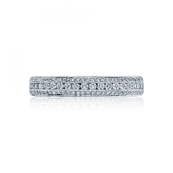 HT 2513 RD B 1/2 XW - 0.53ctw Diamond VS Clarity; G Colour Classic Crescent 18K White Gold Band by Tacori - Serial No. 293656