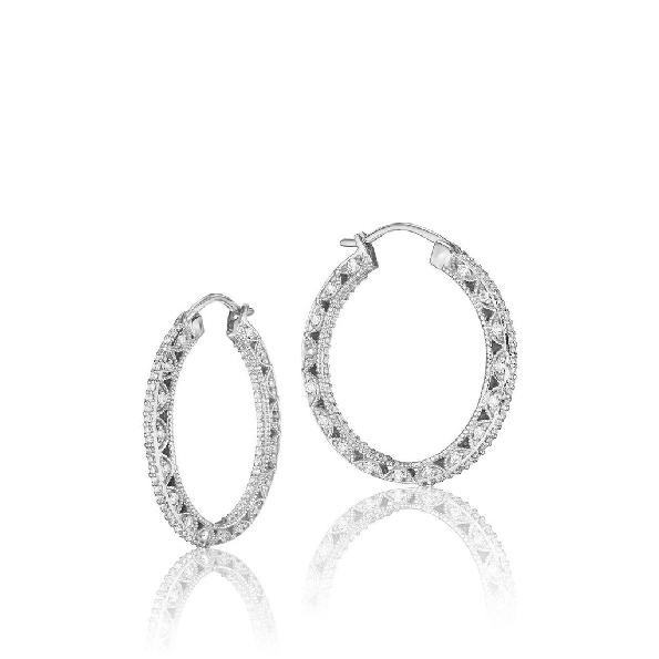 0.70ctw Diamond VS Clarity; G Colour 18K White Gold Hoop Earrings By Tacori - Serial No. 232571