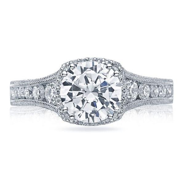 HT 2515 RD 8 1/2 X W - 0.80ctw Diamond VS Clarity; G Colour Set with Curbic Zirconia Centre Reverse Crescent 18K White Gold Tacori Ring - Serial # 118796