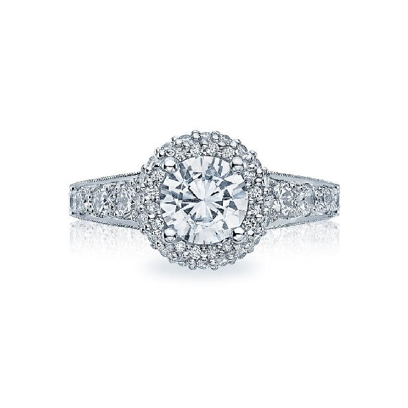 HT 2516 CU 6.5 W - 0.84ctw Diamond VS Clarity; G Colour set with Cubic Zirconia Centre Blooming Beauties18K White Gold Tacori Ring Mounting to fit 6.5mm stone. Serial No. 255556