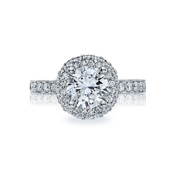 HT 2520 RD 6 W - 0.68ctw Diamond VS Clarity; G Colour with Cubic Zirconia Centre Blooming Beauties 18K White Gold Tacori Ring Mount - Serial No. 279791