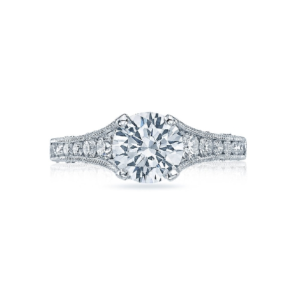 HT 2510 1/2 X W - 0.62ctw Diamond VS Clarity; G Colour with Cubic Zirconia Centre Reverse Crescent 18K White Gold Ring Mount by Tacori - Serial No.150684