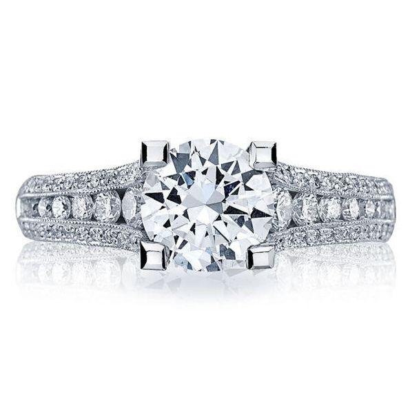 HT 2513 RD 6.5 1/2 X - 0.63ctw Diamond VS Clarity; G Colour set with Cubic Zirconia Centre Classic Crescent Platinum Ring by Tacori - Serial No. 261379