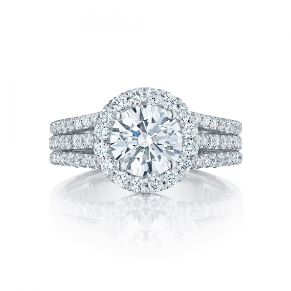 HT 2551 RD 6.5 - 0.82ctw Diamond VS Clarity G Colour set with Cubic Zirconia Centre Petite Crescent Halo Tacori Platinum Ring Mount - Serial No. 249460
