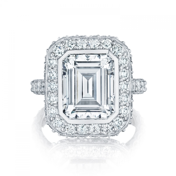 HT 2614 EC 10x8 - 1.77ctw Diamond VS Clarity; G Colour Set with Emerald Cut Bezel Set Cubic Zirconia Centre 3/4 way Tacori Royal T Platinum Ring Mount  - Serial No. 257441