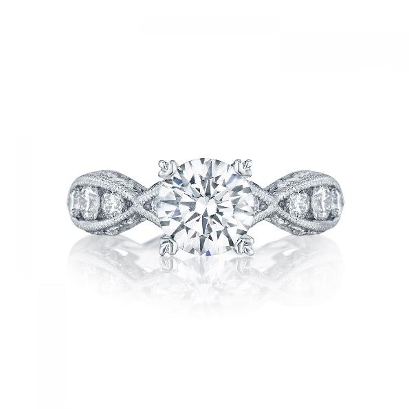 2644 RD 7.5 1/2 - 0.77ctw Diamond VS Clarity; G Colour with Cubic Zirconia Centre Classic Crescent Platinum Tacori Ring - Serial No. 284603